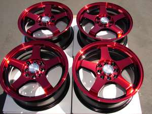 WHEELS RIMS ez go club car yamaha golf cart RED BLACK 4 lug 4x4