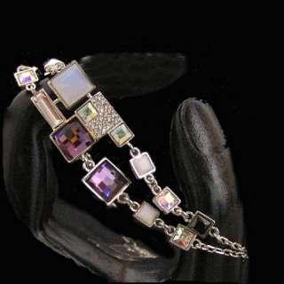 Purple Designer Inspired Swarovski Crystal 3 Pc Necklace Earrings
