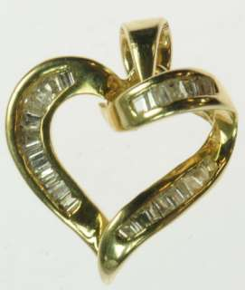 14K SOLID YELLOW GOLD DIAMOND HEART ANNIVERSARY ESTATE PENDANT J196030