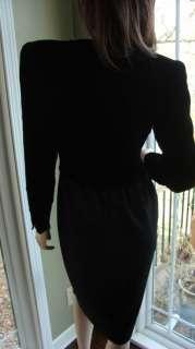 VALENTINO Boutique Black Velvet Wool Military Cocktail Dress sz 4 6