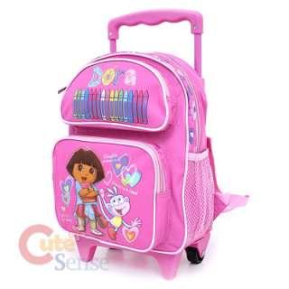 Dora Boots School Roller Backpack Rolling Toddler Bag Pink 2