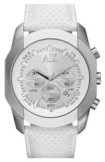 Brand New Armani Exchange White Leather Strap Chronograph Mens Watch