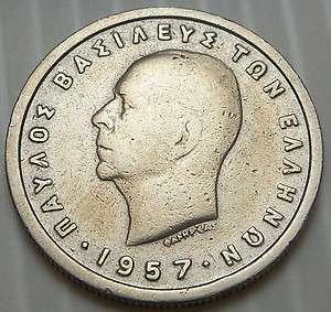 Greece   1957 1 Drachma   KM81   King Paul I