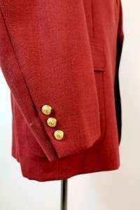 vintage mens RED jacket blazer sport coat USA wool gold buttons sz XXL
