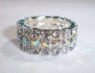 BRIDAL/ WEDDING RHINESTONE STRETCH SILVER RING W. 2 ROW CLEAR CRYSTAL