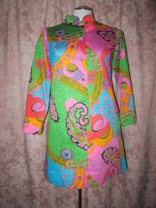 Vtg Tori Richard Honolulu Psychedelic Mod Wild Art Retro Pocket Dress