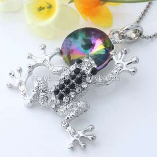 1PC Silver Plated Crystal Round Frog New Pendant Nice
