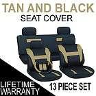 13pc Set Tan Black Auto Car Seat Covers FREE Steering Wheel Belt Pads