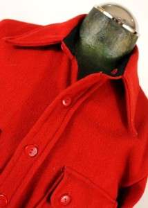 vintage 70s mens bright red CPO wool work shirt jacket 2 pocket size