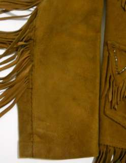 Vintage 70s PIONEER WEAR Deer Skin HIPPIE Whip Stitch FRINGE Coat