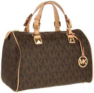 New MICHAEL KORS Grayson Large Logo Satchel Womens Handbag Brown