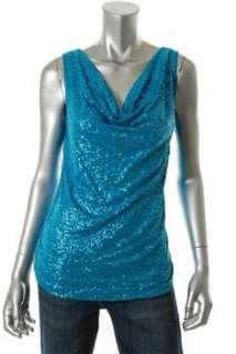 INC NEW Tribal Knit Top Blue Sequin Sale Misses Shirt L