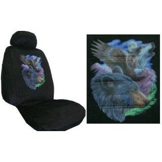 Car Truck SUV Wolf Seat Covers 2 Black Universal Low Back