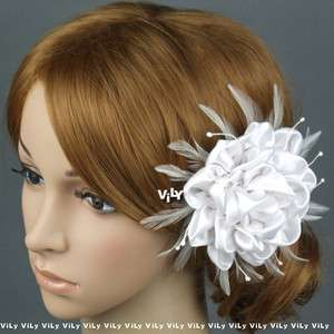 VILY Bridal Hair Clip Fascinator WHITE Feather Flower C