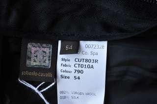 ROBERTO CAVALLI Mens Modern Tuxedo Stripe Black Suit Blazer Jacket
