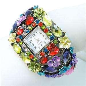 VTG Style Floral Flower Bracelet Watch Swarovski Crystal Multi Oval