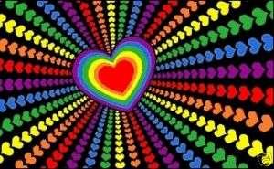 x5 RAINBOW LOVE HEARTS FLAG VALENTINE OUTDOOR 3X5
