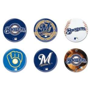 MILWAUKEE BREWERS OFFICIAL LOGO BUTTON 6 PACK: Sports