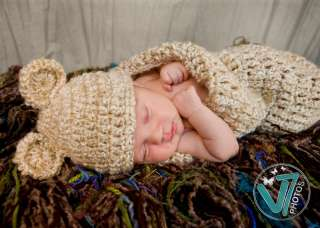 CROCHET NEWBORN BABY BOY/ GIRL CREAM BEAR COCOON / HAT PHOTO PROP