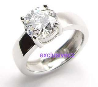 Carats Solitaire Wide Band 18K GP White Gold Plated Wedding CZ Ring