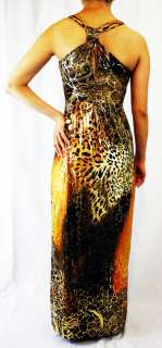 Orange Sexy LEOPARD EXOTIC Party Gown SUN LONG MAXI DRESS S 2 4