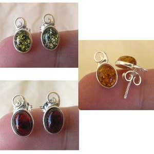BALTIC GREEN, DARK or LIGHT HONEY AMBER & STERLING SILVER STUD