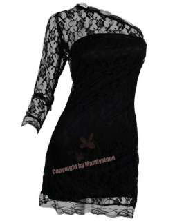 Elegant Embroid Long Sleeve Lace Evening Dresses S M L XL Black