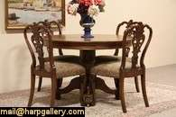 Round Oak Lion Paw Dining Table, 3 Leaves