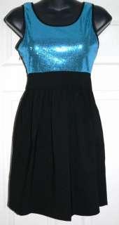 Candies Womens Junior Black Aqua Sequin Dress Sz 1 NWT