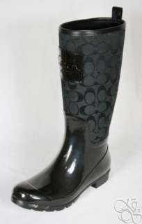 Signature Black Shiny Rubber Rainboots Rain Boots A7314 size 10