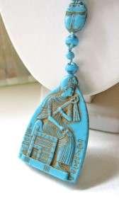 Vintage ART DECO Czech Glass EGYPTIAN REVIVAL Scarab Cameo Flapper