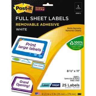 Post it Full Sheet Labels 2500 L, 8 1/2 x 11, 1 per Sheet, 25 Sheets