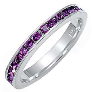 Stackable Purple Amethyst Ice CZ Eternity Band Ring s10
