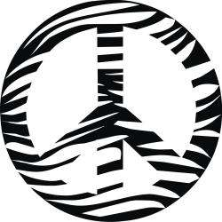 Vinyl Attraction Zebra Print Peace Sign Vinyl Wall Decal