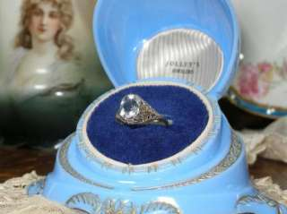 ANTIQUE 14K WHITE GOLD FILIGREE AQUAMARINE RING ART DECO ALL ORIGINAL