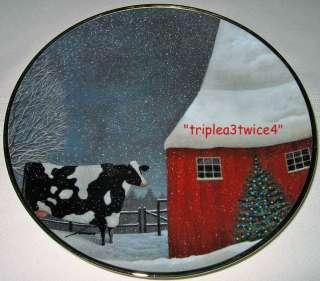 Herrero Cow Barn Winter Snow Folk Art BARNYARD CHRISTMAS Plate Bx+COA