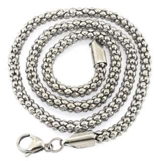 Stainless Steel Men Charm Silver Tone Pendant Necklace Chain Free Ship