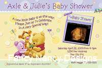 THE POOH BEAR CUTE CUSTOM PHOTO BOY GIRL BABY SHOWER INVITATIONS CARD