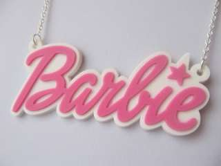 Huge Barbie Logo Pink and White Star Necklace