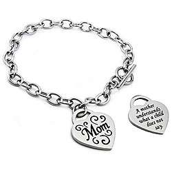 Stainless Steel Engraved Mom Heart Charm Bracelet