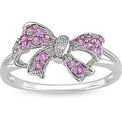 10k White Gold Pink Sapphire and Diamond Bow Ring