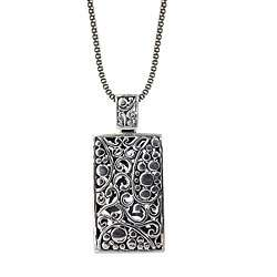 Sunstone Sterling Silver Antiqued Bali Style Necklace