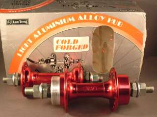 pair of NOS Old School Red BMX Bicycle Hubs 36 hole 3/8