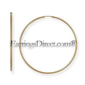 EXTRA LARGE BIG 14k/14kt GOLD ENDLESS 2 3/8 60mm x 2mm HOOP Earrings