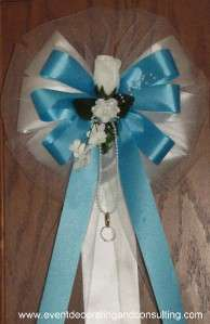 WHITE ROSE TURQUOISE Satin Ribbon Bows for Weddings
