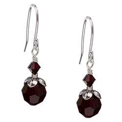 Charming Life Silver January Birthstone Dark Red Crystal Earrings