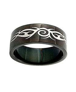 Black Stainless Steel Ring with Tribal Design (Case of 2)