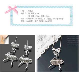2PCS Jewelry Sets Ballet Girl Bow Bead Rhinestone Pendent Necklace