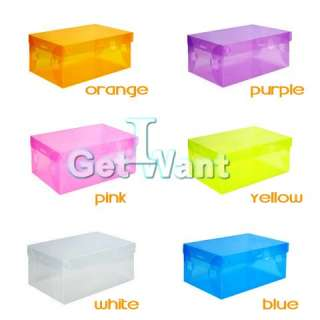 DIY Clear Plastic Shoe Shoes Storage Transparent Boxes Container Case