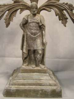 Figural MEDIEVAL KNIGHT TEMPLAR Statue GIRANDOLE Candle CANDELABRA